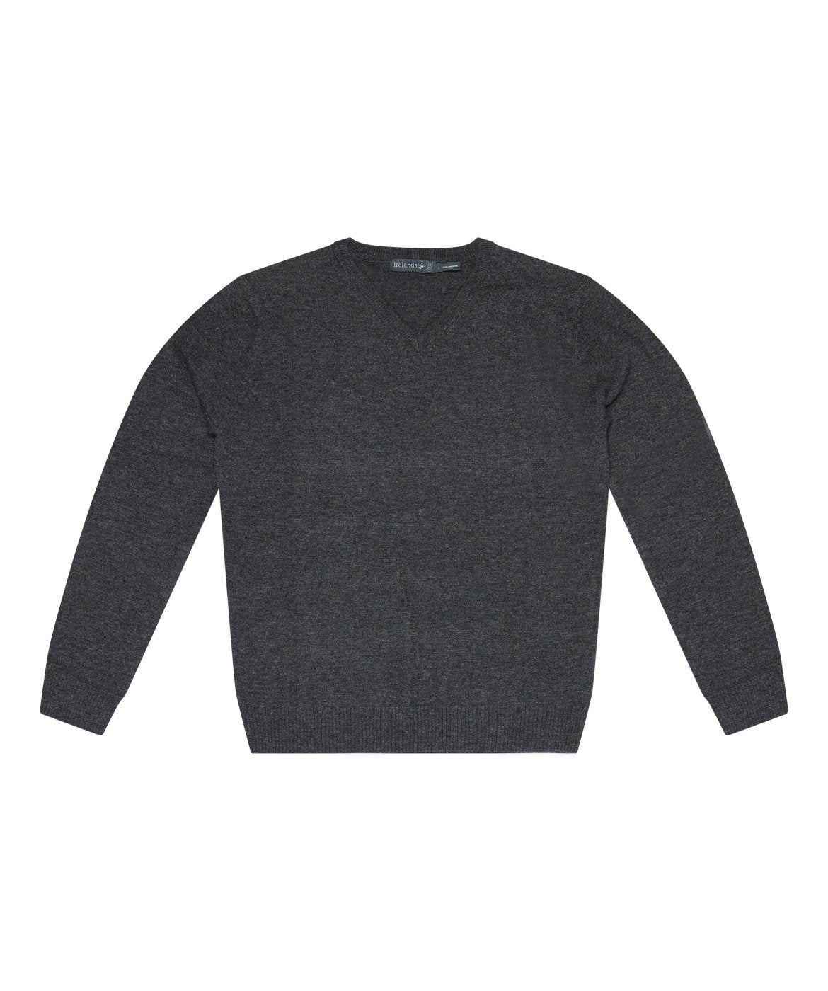 Easy Care V Neck Wool Sweater Charcoal