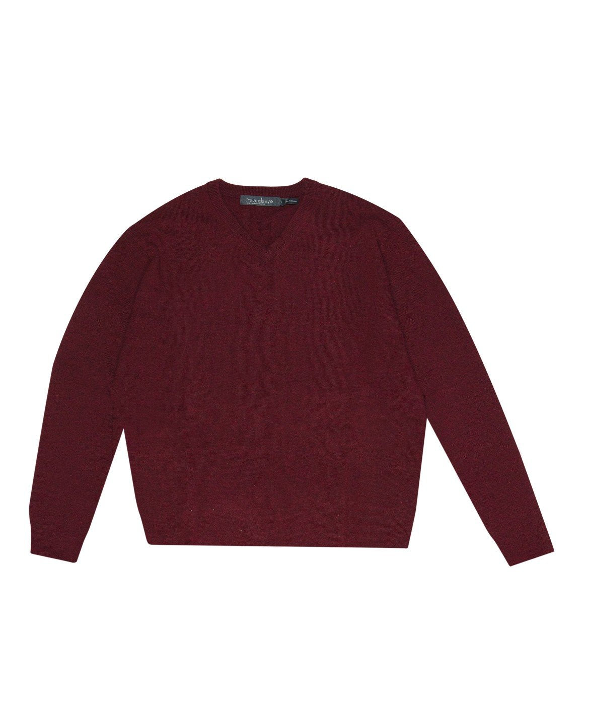 Easy Care V Neck Wool Sweater Deep-Claret