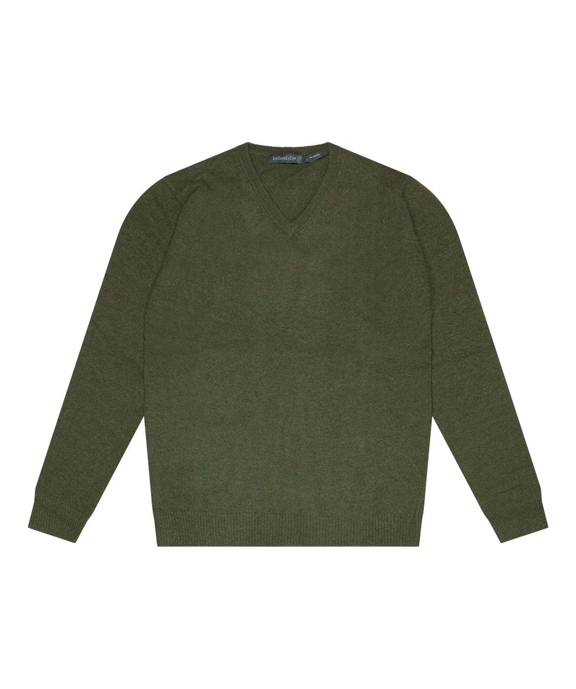 Easy Care V Neck Wool Sweater Green