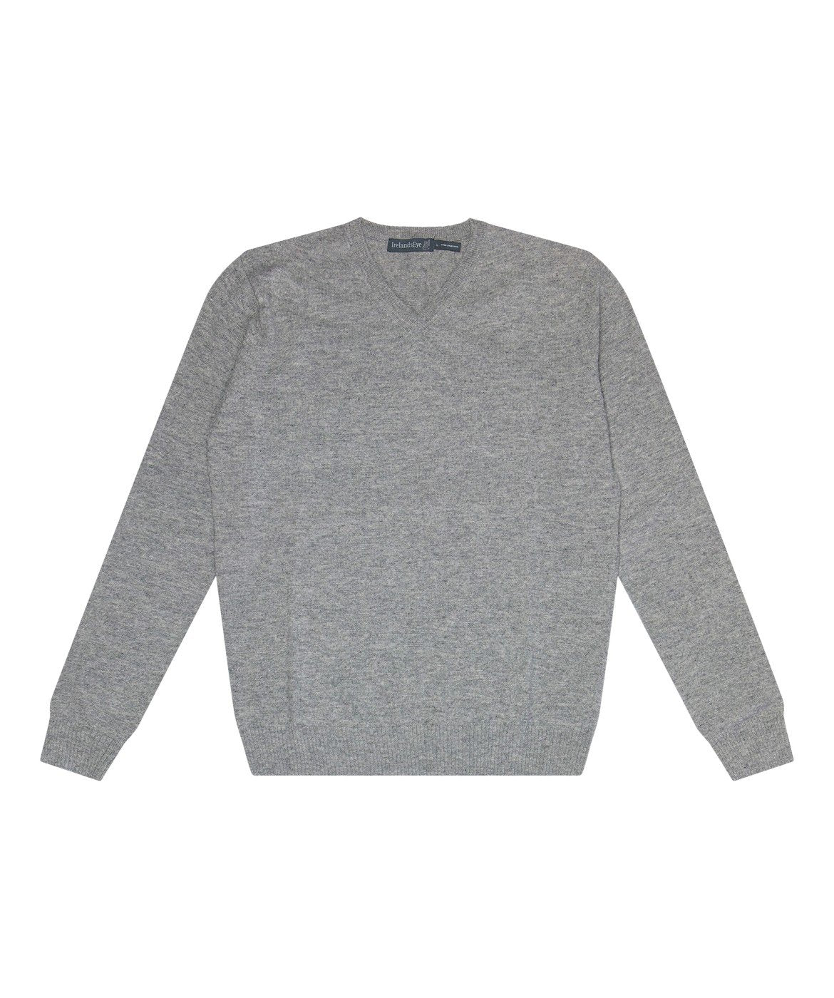 Easy Care V Neck Wool Sweater Grey-Smoke