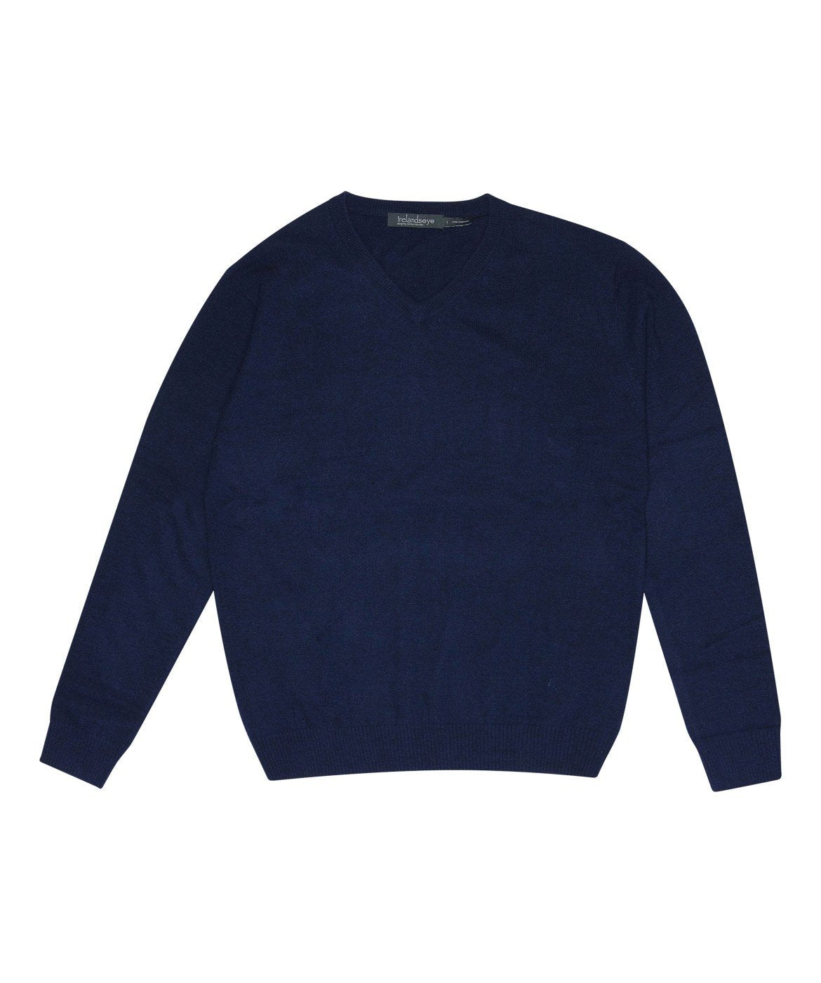 Easy Care V Neck Wool Sweater Navy