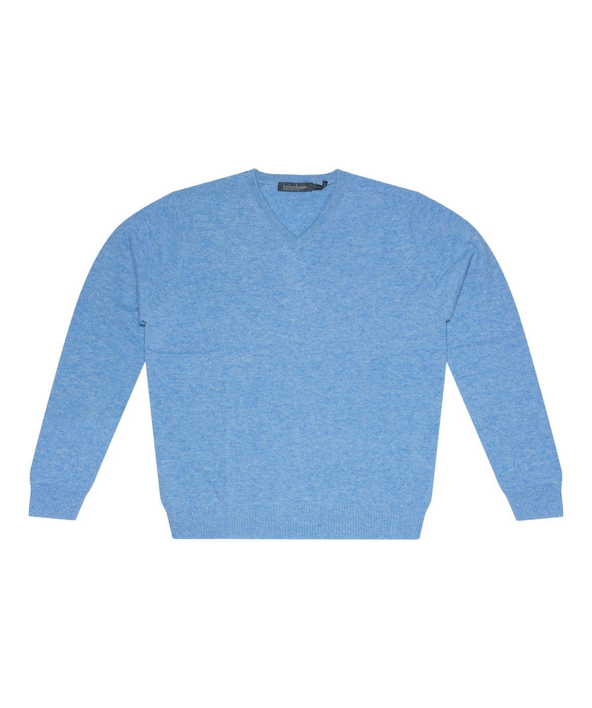 Easy Care V Neck Wool Sweater Skyline-Blue