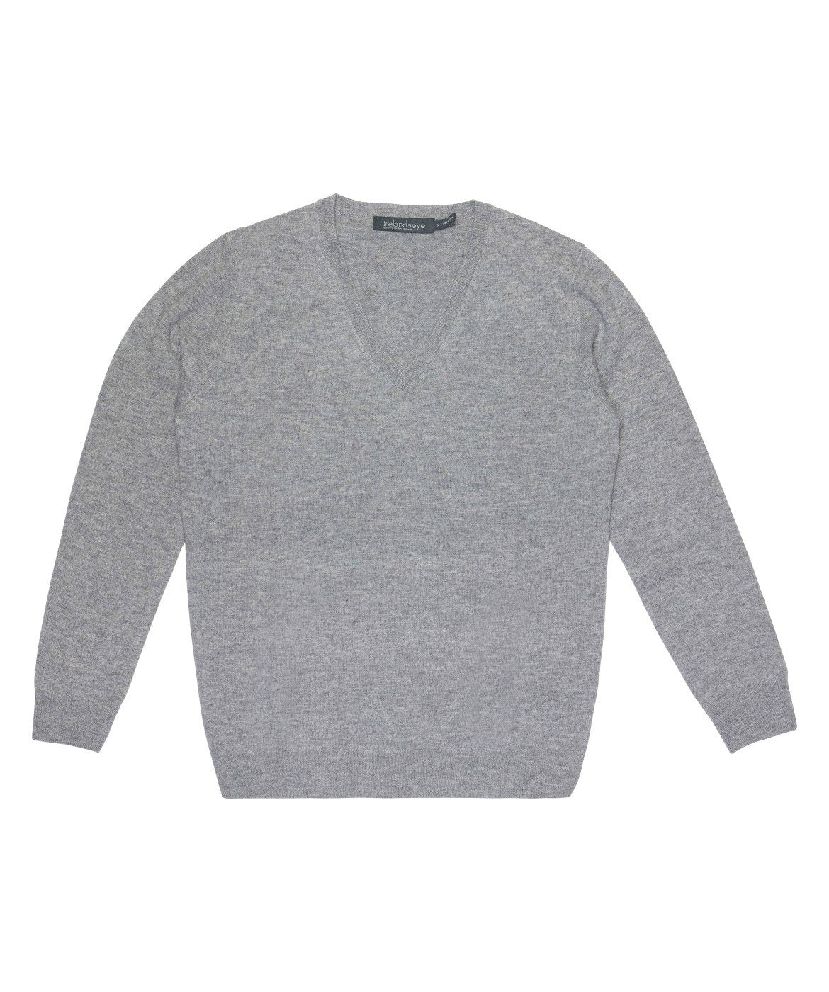 Women's Luxe Touch Wool V Neck Sweater Grey-Smoke