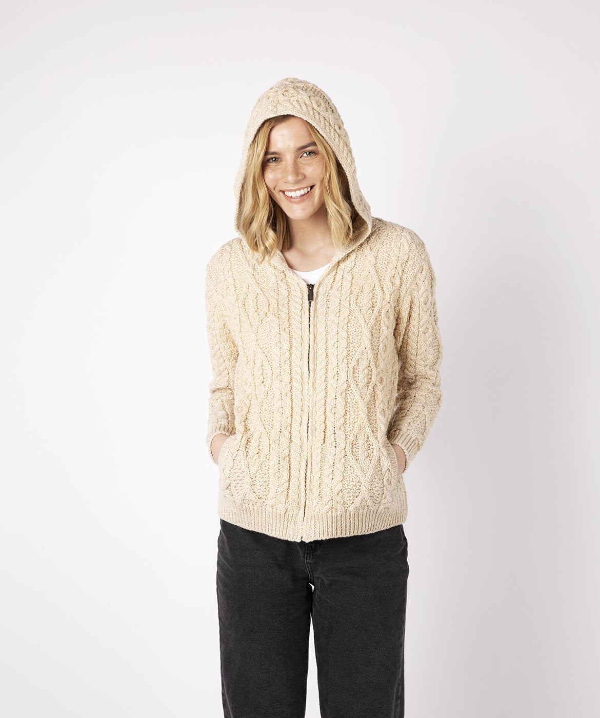 Ash Aran Zipped Hooded Jacket Oatmeal Marl