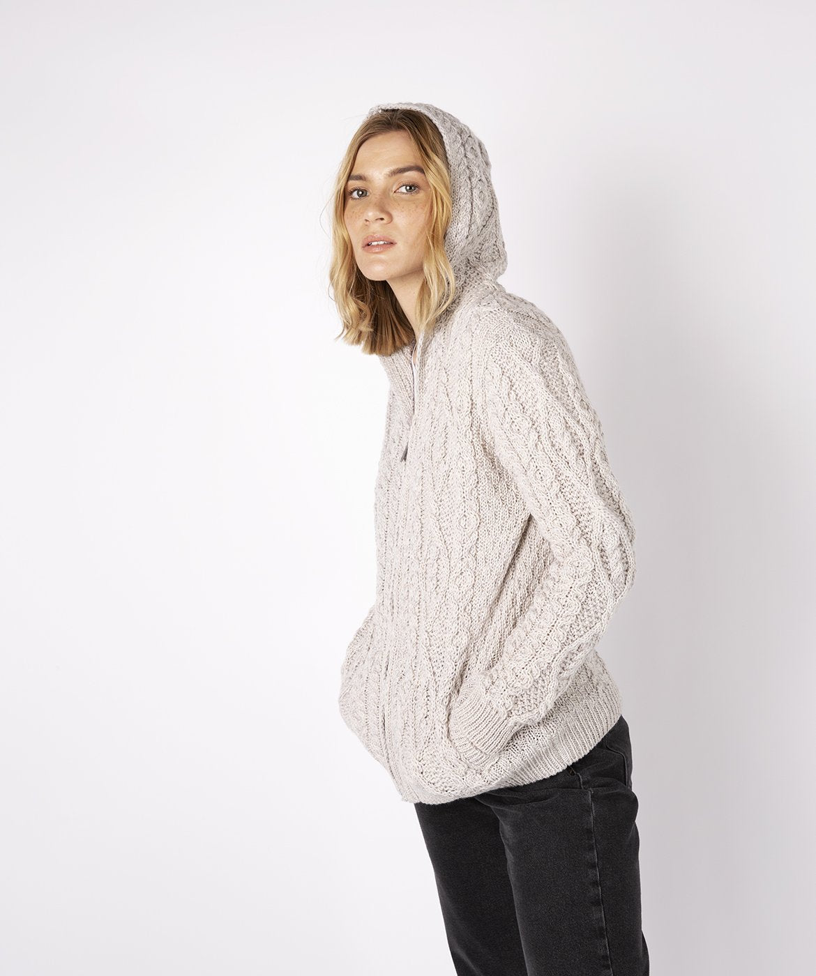 Ash Aran Zipped Hooded Jacket Silver Marl