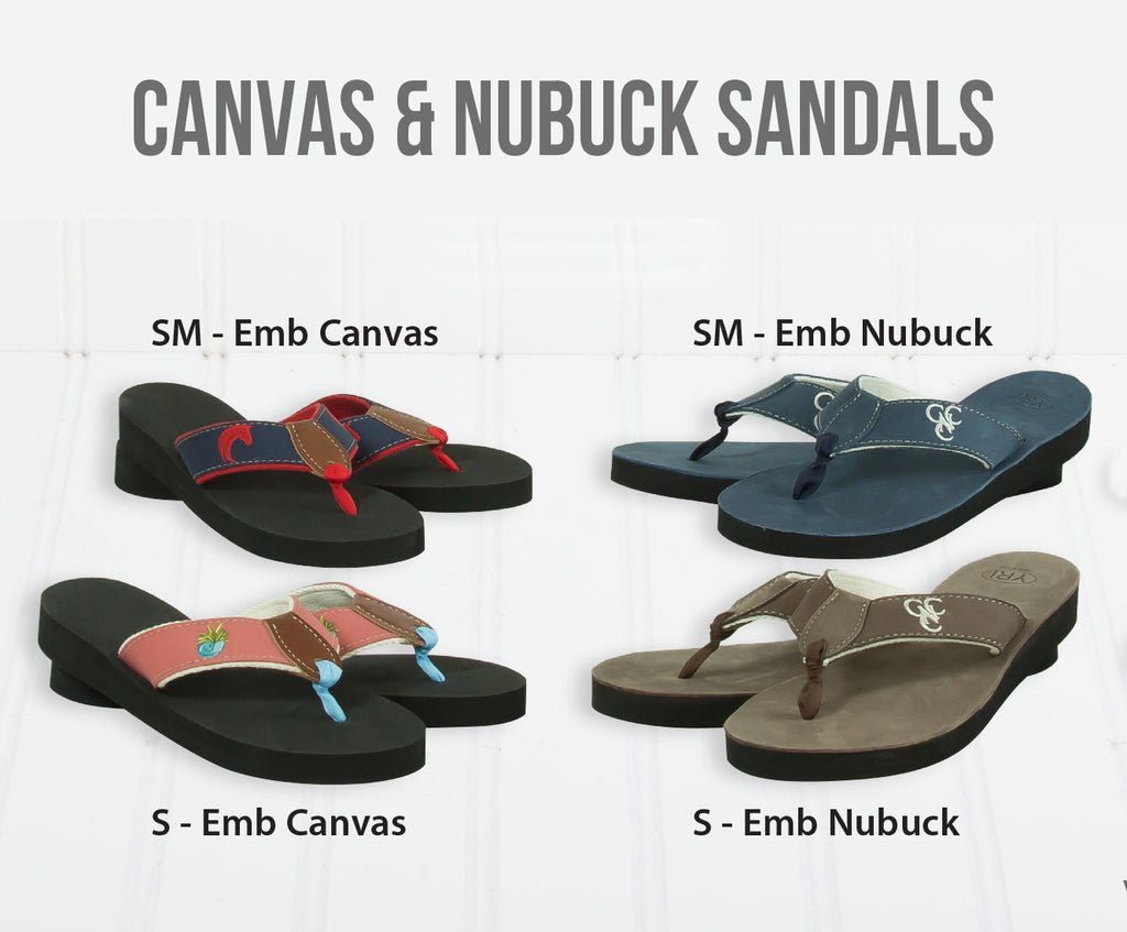 Embroidered Canvas & Nubuck Sandals