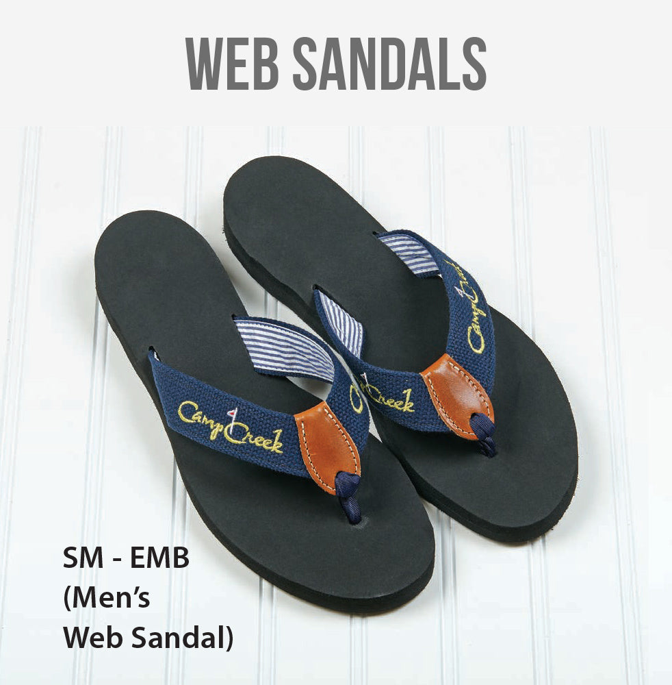 Embroidered Web Sandals