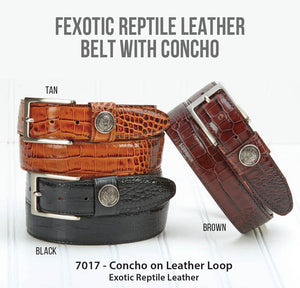 Exotic Reptile Leather Belt With Concho