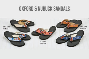 Embroidered Oxford & Nubuck Sandals