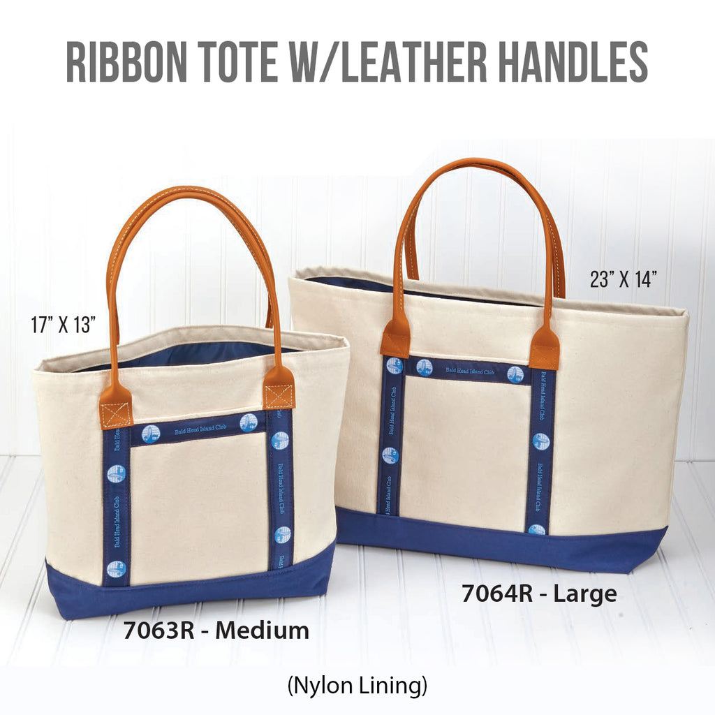 Ribbon Tote With Leather Handles