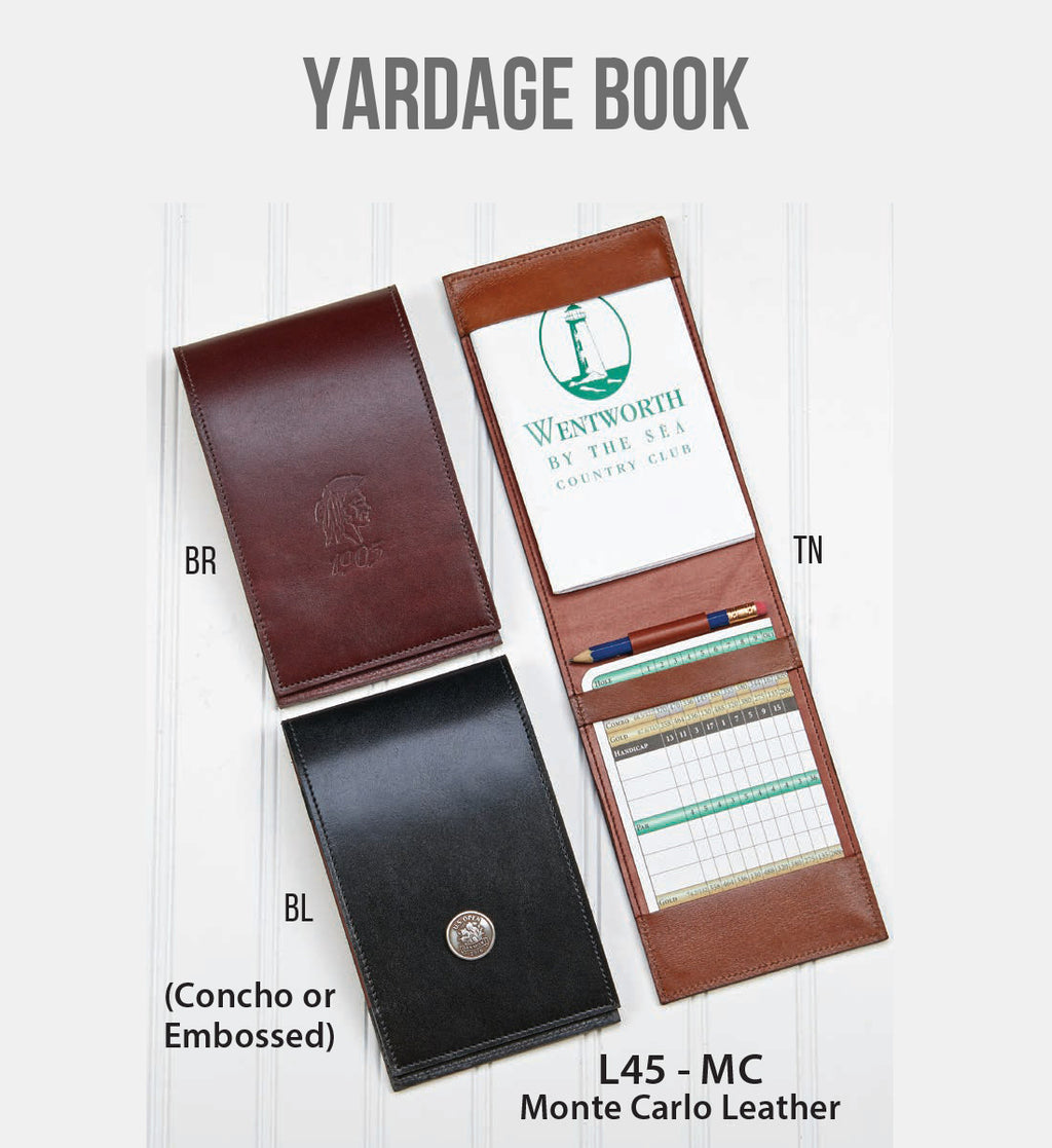 Yardage Book with Embossing Stamp or Concho