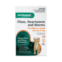 Load image into Gallery viewer, Aristopet Fleas, Heartworm and Worms topical treatment  For Kittens and Small cats up to 4Kg 6 Pack