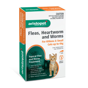 Aristopet Fleas, Heartworm and Worms topical treatment  For Kittens and Small cats up to 4Kg 6 Pack