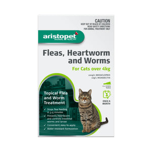 Aristopet Animal Health Fleas, Heartworm And Worms For Cats Over 4Kg 6 pack