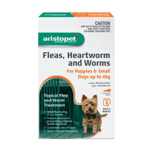 Load image into Gallery viewer, Aristopet Fleas, Heartworm and Worms topical treatment For Puppies and Small Dogs Up to 4Kg 3 pack