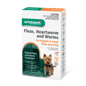 Aristopet Fleas, Heartworm and Worms topical treatment For Puppies and Small Dogs Up to 4Kg 3 pack