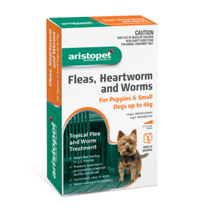 Aristopet Fleas, Heartworm and Worms topical treatment For Puppies and Small Dogs Up to 4Kg 6 pack