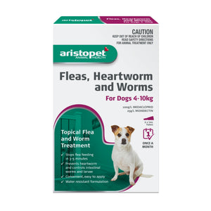 Aristopet Fleas, Heartworm and Worms topical treatment For Dogs 4-10Kg 6 pack