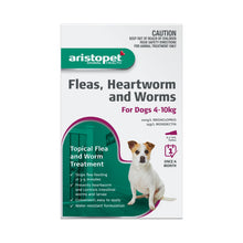 Load image into Gallery viewer, Aristopet Fleas, Heartworm and Worms topical treatment For Dogs 4-10Kg 6 pack