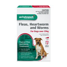 Load image into Gallery viewer, Aristopet Fleas, Heartworm and Worms topical treatment For Dogs Over 25Kg 3 pack