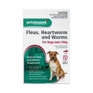 Aristopet Fleas, Heartworm and Worms topical treatment For Dogs Over 25Kg 3 pack