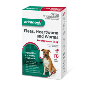 Aristopet Fleas, Heartworm and Worms topical treatment For Dogs Over 25Kg 6 pack