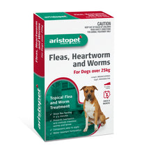 Load image into Gallery viewer, Aristopet Fleas, Heartworm and Worms topical treatment For Dogs Over 25Kg 6 pack