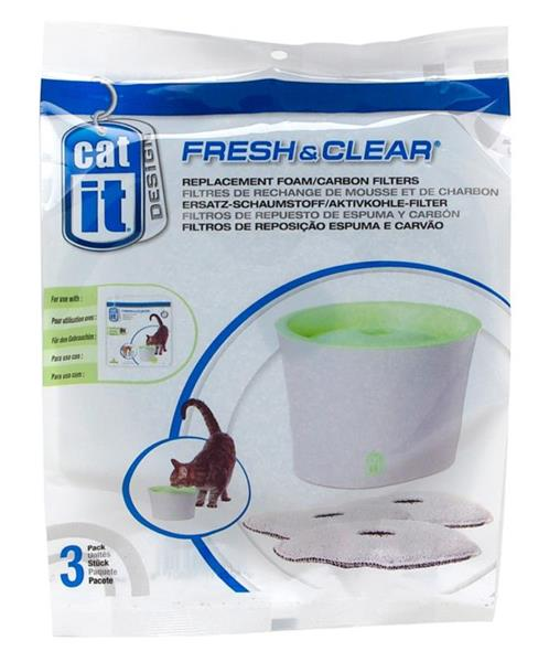 Fresh 'n Clear Cat Drinking Fountain Foam Carbon Cartridges 3 pack