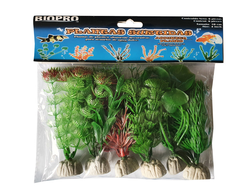 Fish Plant Plastic 10cm Height Pack of 6