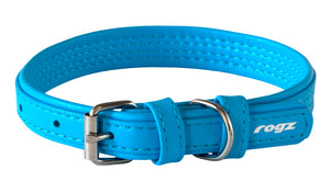 Rogz Leather Collar Large Turquoise