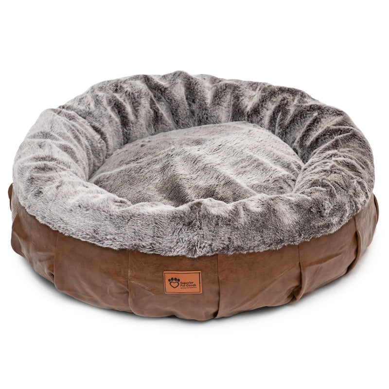 Harley Dog Bed Faux Leather & Rabbit Fur Large