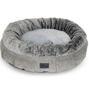 Harley Dog Bed Harlow Grey & Artic Faux Fur Extra Large
