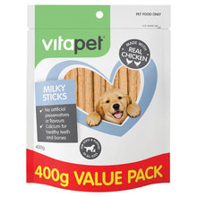 Load image into Gallery viewer, VitaPet Jerhigh Dog Treats Milky Sticks 400g