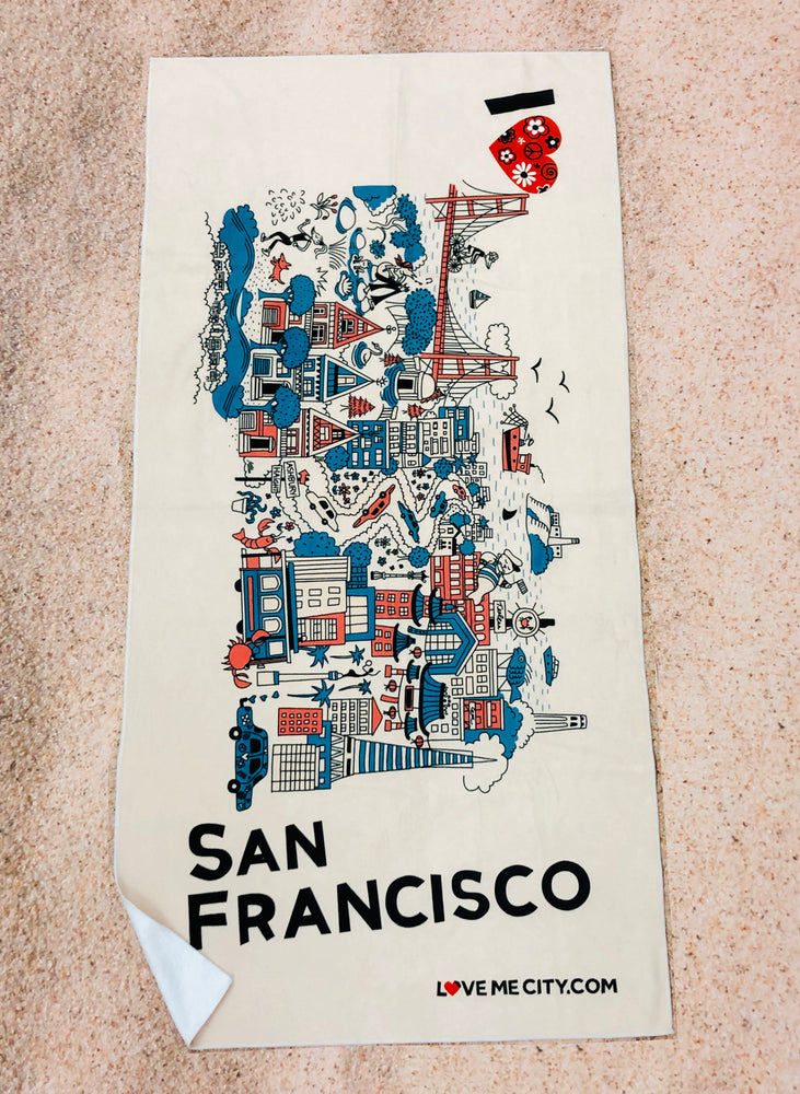Load image into Gallery viewer, BEACH TOWEL • I Love SAN FRANCISCO • COMING SOON • PRE-ORDER NOW!