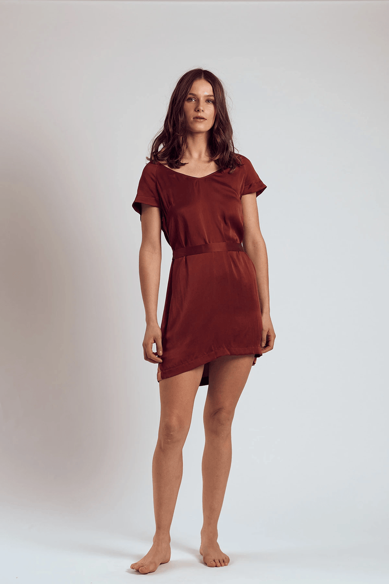 THE MERLOT SILK DRESS - Staying In Au