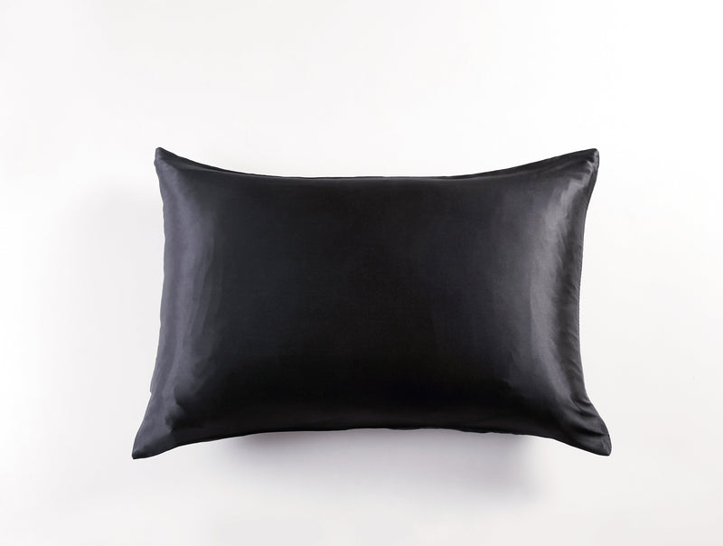 BLACK Personalised Silk Pillowcase - Queen Size