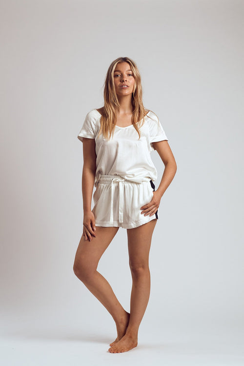 THE WHITE RUSSIAN SILK TOP - Staying In Au
