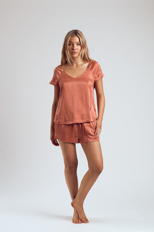 THE ROSÉ SILK TOP - Staying In Au