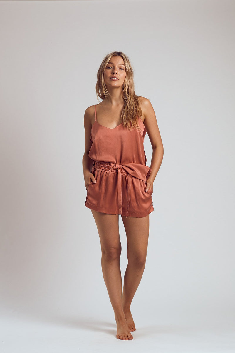THE ROSÉ SILK SHORTS - Staying In Au