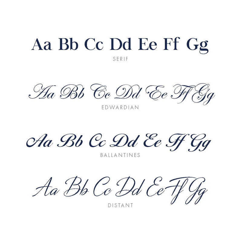 Midnight Mischief's four fonts that we use to embroider on the garments. They contain Serif, Edwardian, Ballantines and Distant.