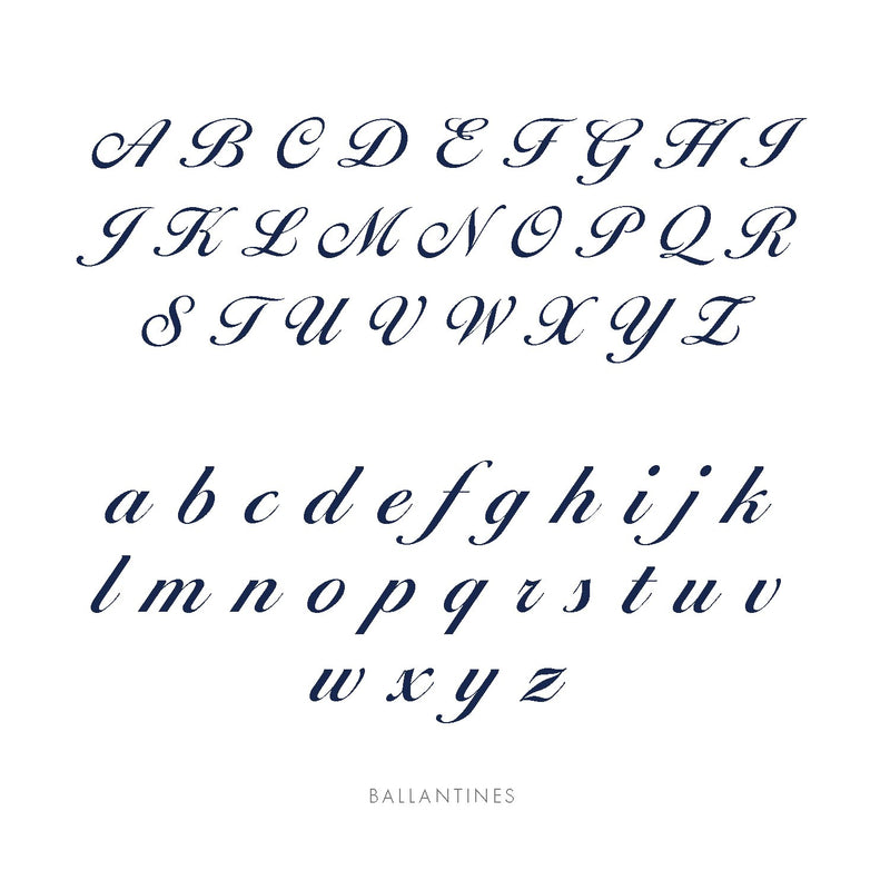 Midnight Mischief's Ballantines font displayed to show what each letter looks like in upper case and lower case letters.