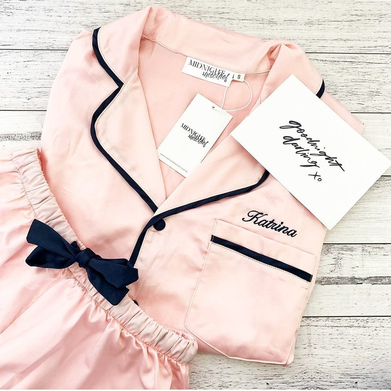 Luxe Satin Personalised Pyjama Set - Short Sleeve Pink/Navy