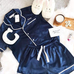 Luxe Satin Personalised Pyjama Set - Short Sleeve Navy/White