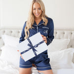 Luxe Personalised Pyjama Set - Long Sleeve Navy/White