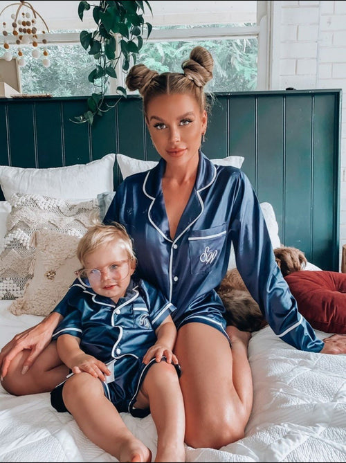 Kids Luxe Satin Personalised Pyjama Set - Short Sleeve Navy/White