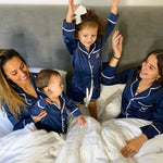 Kids Luxe Satin Personalised Pyjama Set - Long Sleeve with Shorts Navy/Navy