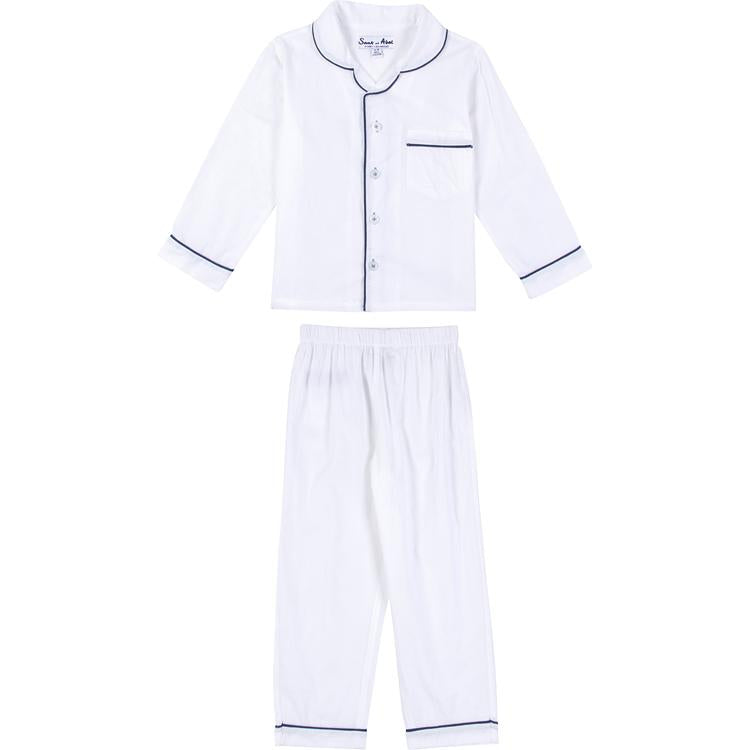 Boys White Cambric Long Sleeve PJ Set