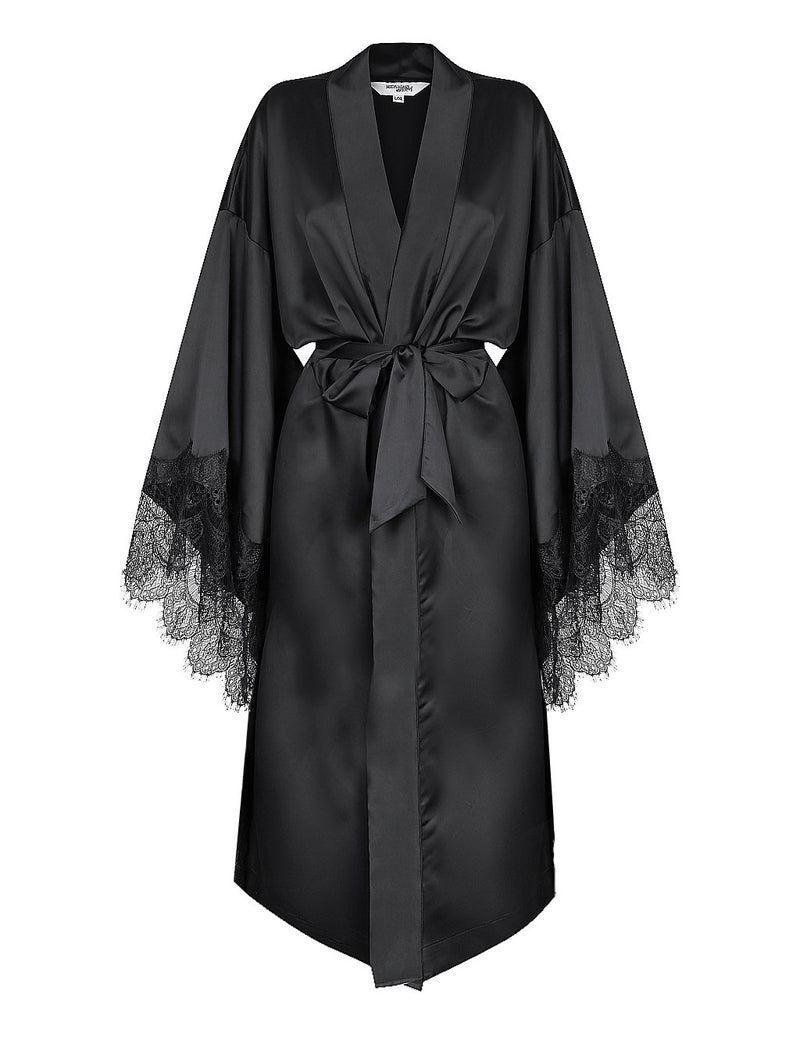Luxe Personalised Black Lace Long Robe - Black Lace Details