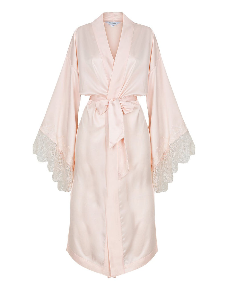 Luxe Personalised Pink Lace Long Robe - Pink Lace Details