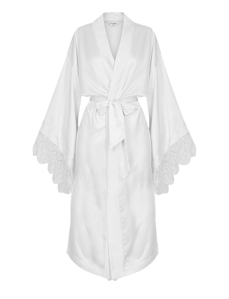 Luxe Personalised White Lace Long Robe - White Lace Details